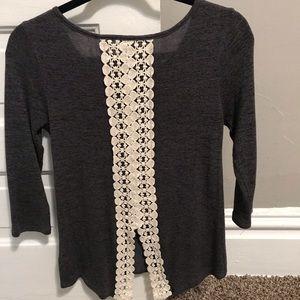 Pixley Beaverton Crochet Split Back Knit Top